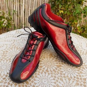 ECCO Oxfords Flats Shoes Sneakers Black Red 38 New